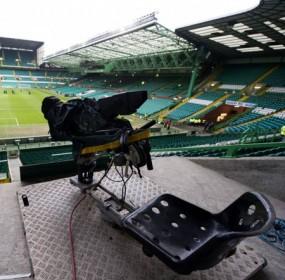 TV camera at football stadium, Celtic Park