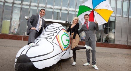 New BBC weather presenters cat Cubie, Chris Blanchett and Stav Danaos  show they are supporting the Glasgow2014 ÔSport Your TrainersÕ campaign. The campaign is designed to encourage all of Scotland to ÔSport their TrainersÕ on march 14 (Commonwealth Day) to demonstrate their support for Glasgow2014. This is the first year of Sport Your trainers but the campaign will run every year (on Commonwealth day) between now and 2014.  Picture by Chris James  18/2/11