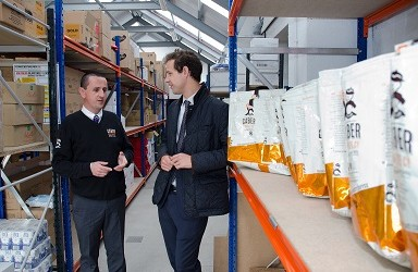 Findlay Leask, Caber Coffee (left) and Callum McCaig MP (right)