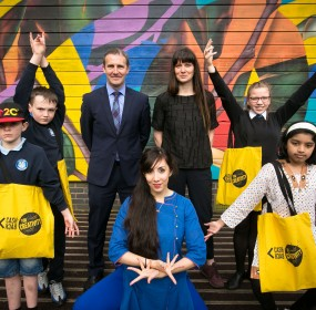 Justice Secretary Michael Matheson meets with local youngsters involved with CashBack For Creativity projects at WHALE Arts in Wester Hailes. One of 32 community based arts projects across the country supported to receive over £250,000 through CashBack F
