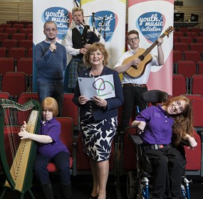 Picture shows :Fiona Hyslop, The Cabinet Secretary for Culture & Europe External Affairs pictured with young performers and musicians at the Youth Music Initiative Evaluation Event in The Studio Edinburgh Festival Theatre, Edinburgh, Scotland.Piper Gre