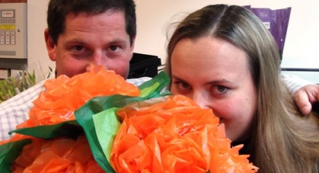 Sainsbury's Rick and Katherine smeilling the 'flowers'