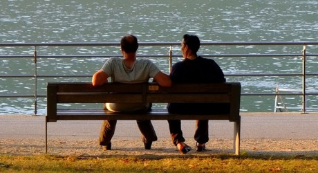 Two men on park bench
