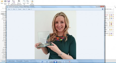 Caroline with her Award