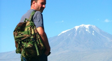 Derick Mackenzie with Mount Ararat in the background (Credit: Plainview Films)