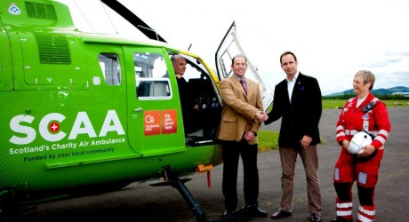 Douglas McAdam (left) of SL&E with SCAA Chairman John Bullough, Pilot Nigel Clarke and Paramedic Julia Barnes
