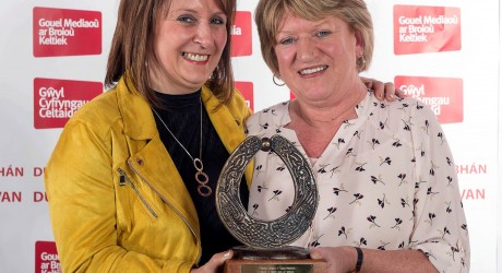 L-R Angela Mackinnon and Morag MacDonald with the Best Radio Music Programme 2016 award