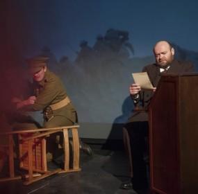 L-R Iain Beggs with David Walker, who plays headteacher William J Gibson