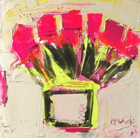 Flush Pink and Red Tulips 30x30cm