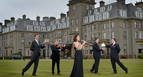 RCS and Gleneagles Gala Concert. L-R Lewis Hunter, Colin McKee, Clara Lafuente García, Callum Rees and Cameron Baxter. Pic by Julie Howden