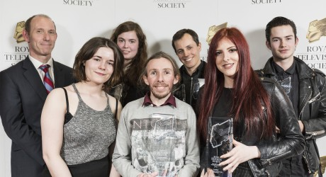 James Wilson and winners, (L-R from back) Bethany Angus, Kris Kubik, Ben Cresswell, Dayna Baptie, Lewis Jones and Louise Dawson
