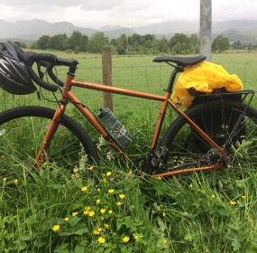 Em's bike parked on junction with cultybraggan before straight into Comrie