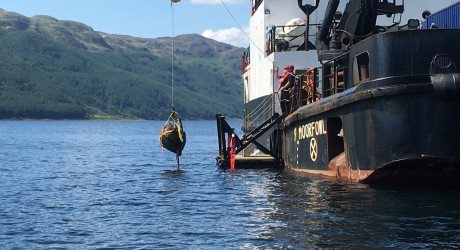 Highball bomb being raised from Loch Striven (2), photo credit Henry Paisey BSAc smaller