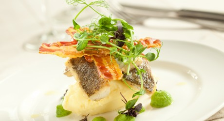 Pan Fried Sea Bass, with Crispy Pancetta and Pea Puree_small
