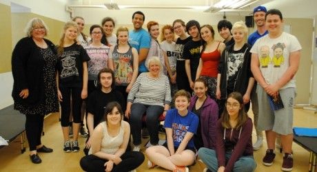 Liz Lochhead with the cast of Thebans at Scottish Youth Theatre_2_web