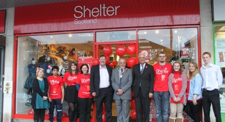 Volunteers join Graeme Brown, Director of Shelter Scotland; the Lord Provost and Cllr Ian McAlpine for the opening of the new Clarkston shop