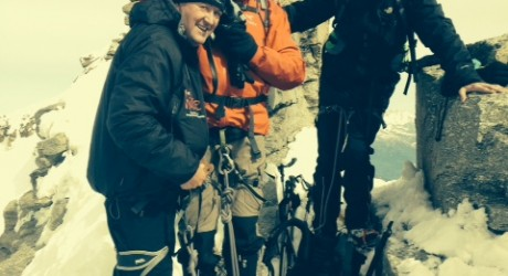 HIT supporters at the summit of Gran Paradiso (LtoR) Robert Lynn, Managing Director, Stag Developments; Ian Campbell, Managing Director, George Campbell and Sons and Barry Laurie, partner at French Duncan
