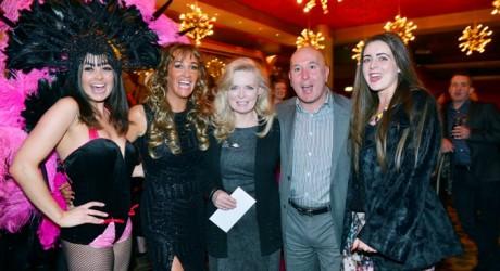 all media Alea Las Vegas winner Christine Carrick (centre) with L-R Alea showgirl, DJ Gina McKee, Alea MD Paul Rety and Christine's daughter Roseanne Carrick