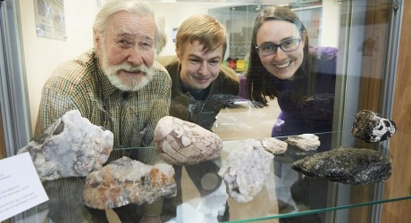 Calum Anton, Keiran Young and Sam Clark with the geological specimens_resize