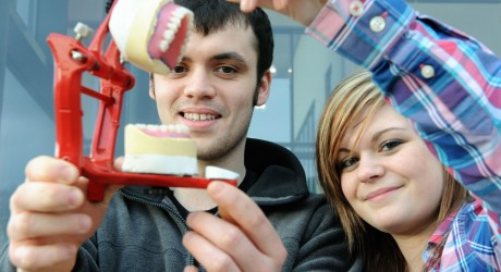 Dental technology students Marc Buchan from Peterhead and Sally Trusser from Alness