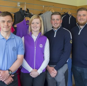Golf students Michael Schinkel, Caitlin Boa, Alistair McNaughton and Graham Minton at Golspie Golf Club shop