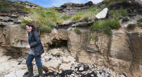 Julie_Gibson at the eroding Broch of Steiro in Orkney