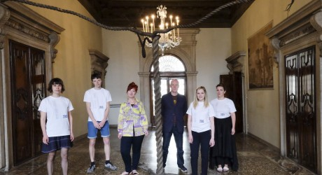 Julija Astasonoka  with Graham Fagen, Hospitalfield Arts director Lucy Byatt and other Scottish art students and graduates