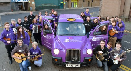 University of the Highlands and Islands Music Students with the Purple Taxi (2)
